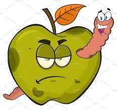 worm in a grumpy rotten green apple illustrations creative market