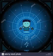 astronomy of libra zodiac circle with zodiac sign icon vector on