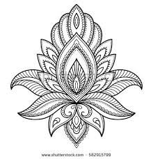 henna tattoo flower template indian style stock vector 582915874