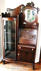 Antique Curio Cabinet With Clock Antique Curio Cabinets 1920 U0027s Antique Oak Side By Side Secretary