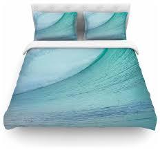 susan sanders ocean blue wave teal duvet cover cotton queen contemporary