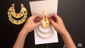 birthday cake kirigami pop up card tutorial free pattern