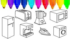 learn colors for kids with kitchen appliances coloring pages fun