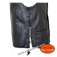 motorcycle waistcoat black leather vest biker motorcycle amt custom shop