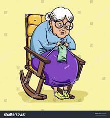 Grandma In Rocking Chair Clipart Vector Illustration Grandma Old Lady On Stock Vector 415000438