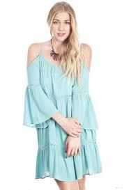 dress bohemian dream off the shoulder peasant dress in mint