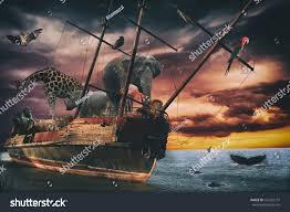 noahs ark fantasy animal ship several stock photo 541232131