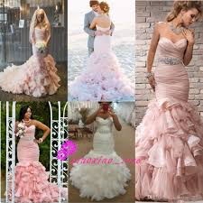 Pink Wedding Dresses With Sleeves Romantic 2016 Bush Pink Mermaid Wedding Dresses With Sweetheart