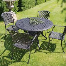 Cast Aluminium Outdoor Furniture by Bramblecrest Genoa 4 Seat Round Cast Aluminium Garden Furniture