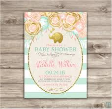 elephant baby shower invitation elephant printable floral mint