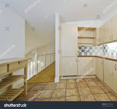 open plan kitchen split level living stock photo 41238022