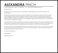 part time job resignation letter resignation letters livecareer