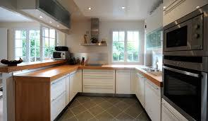 cuisine blanc laqué et bois davaus cuisine blanche plan de travail bois avec des id es blanc