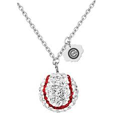 baseball jewelry sterling silver mlb chicago cubs baseball necklace with austrian