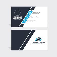 simple blue black and white business card vector free