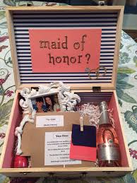 will you be my of honor gift nautical coral navy white and gold will you be my of