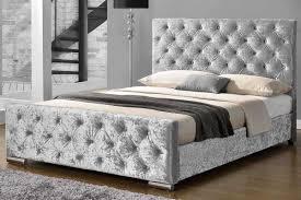 Crushed Velvet Fabric Upholstery Buckingham Crushed Silver Fabric Upholstered Buttoned Bed Double