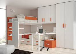 double deck bed with cabinet bedroom and living room image