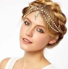 gold headpiece chain drop hair pearls beaded tikka gold headpiece