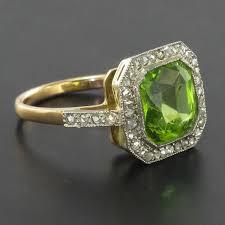 1930s art deco peridot and diamond ring at 1stdibs