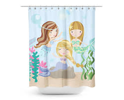 The Little Mermaid Shower Curtain Under The Sea Mermaid Friends Shower Curtain Kids Shower Curtain