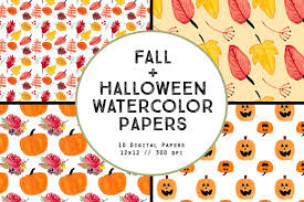 fall halloween images watercolor fall halloween papers patterns creative market