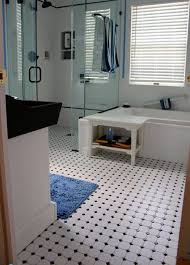 lovely black and white octagon bathroom tile in budget home