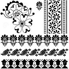 vector indian ornaments on yellow royalty free cliparts vectors