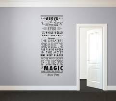 roald dahl believe in magicquote wall decal custom vinyl art