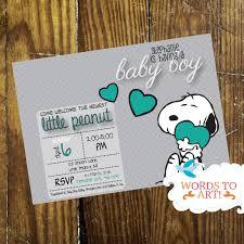 printable diy custom snoopy baby shower invitations boy
