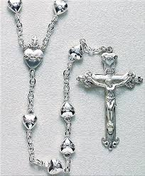 sacred heart rosary hmh religious sacred heart of jesus solid sterling silver heart rosary