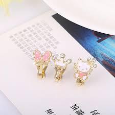 clip on earrings for kids 3pcs lots small cherry apple enamel clip on earrings