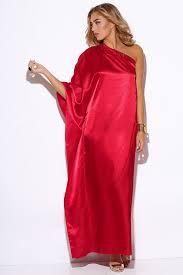 shop red satin bejeweled one shoulder kimono sleeve formal evening