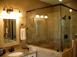 bathroom design and decoration using brown glass travertine shower