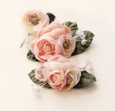 Flower Clips For Hair - pastel flower clip set ranunculus hair clips pink flower