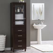 Glass Bathroom Storage Espresso Wood Linen Tower Bathroom Storage Cabinet With Glass