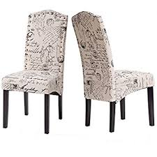 Accent Chair Set Of 2 Amazon Com Merax Fabric Dining Chairs Script Fabric Accent Chair