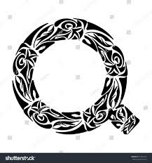 polynesian tattoo initials boho capital letter stock vector