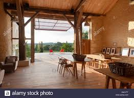 wooden work converted barn with original timber beams wooden work tables and