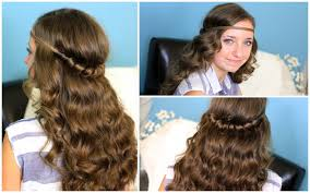 headband twist half up half down hairstyles youtube