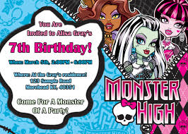 birthday invites wonderful monster high birthday invitations
