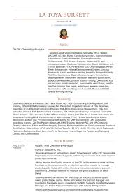chemist resume 15 quality and chemistry manager resume samples