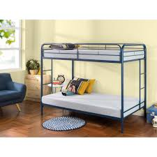 zinus quick lock twin over twin metal bunk bed with dual ladders