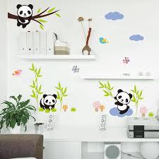stickers pour chambre bebe forêt de bande dessinée panda bambou oiseaux arbre stickers muraux