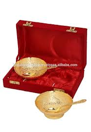 Wedding Gift Set Ladies Sangeet Wedding Gifts Gold Plated Brass Two Bowl Set From