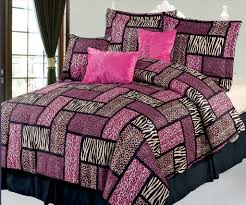 Fuchsia Comforter Set Piece King Safari Pink And Black Patchwork Micro Suede Comforter