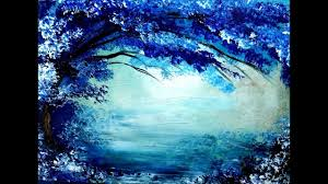 blue and white painting painting tree in blue and white acrylic colors over it s beautiful