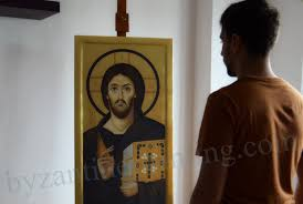 painted orthodox icon of jesus christ pantocrator from sinai