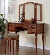Bedroom Vanity Table With Mirror Bedroom Amazing Classic 2 Piece Cherry Tri Mirror 5 Drawer Makeup