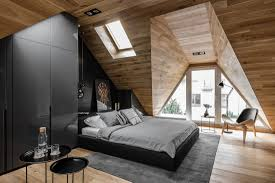 bedroom simple small attic design with king sized bed and